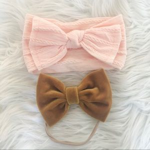 2 baby girl bow headbands